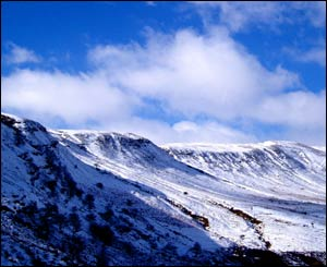 Sue Crook sent this view of the snow-topped mountains near Brecon