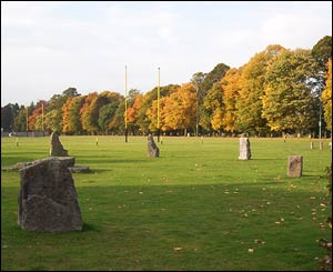Builth Wells rugby pitch, with the Gorsedd circle of stones in foreground (from Roy Bunting)