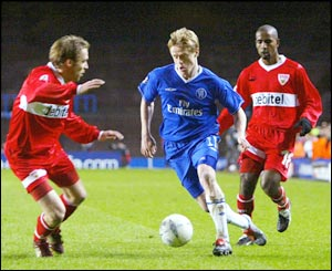Damien Duff starts for Chelsea for the first time in 2004 but the Irishman fails to unlock the Stuttgart defence