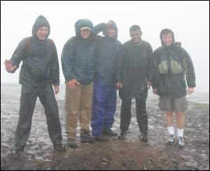 Peter Anderson from Seattle and university students from London atop Pen y Fan  in the Brecon Beacons