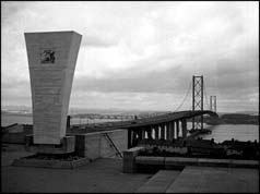 Forth Road Bridge viewed from south side with plaque