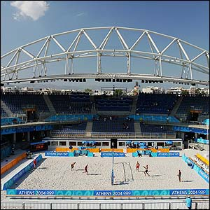 A view of the main Beach Volleyball Centre in Athens, photographed on 11 August