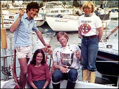 Fiona Wylie (standing) with the crew of Assent after the race