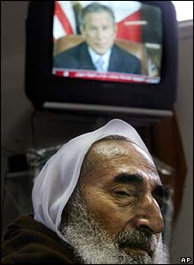 Yassin being interviewed in his home in January 2004