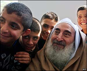 Yassin with children at mosque in Gaza City