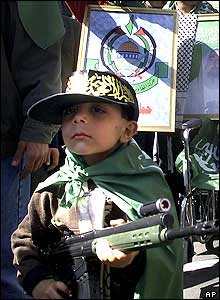 Palestinian boy at demonstration in al-Yarmouk refugee camp on the outskirts of Damascus