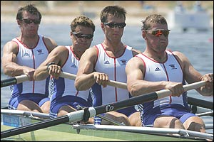 Steve Williams, James Cracknell, Ed Coode, and Matthew Pinsent in action at the Schinias rowing and canoeing centre