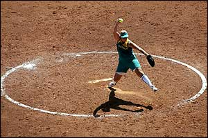Australia's Tanya Harding pitches