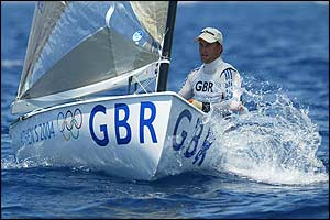 Ben Ainslie competes at the Agios Kosmas sailing centre