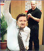 Ricky Gervais keeps the rest of The Office amused with his dance moves