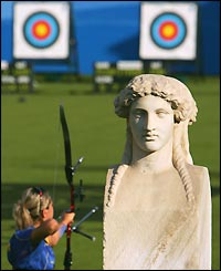 Hanna Karasiova of Belarus competes in the women's archery
