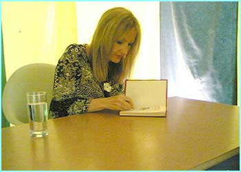 JK then sat down for a mammoth book-signing with fans