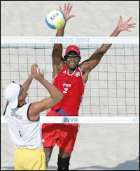 Germany's Scheuerpflug attempts to outwit Cuba's Milanes