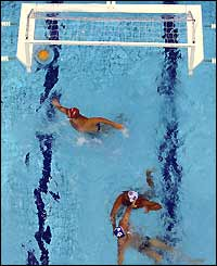 Australia score a goal against Egypt in the men's water polo