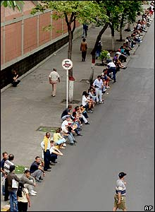 Queue outside polling station