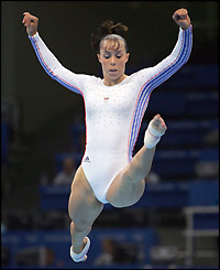 Beth Tweddle in action on the beam
