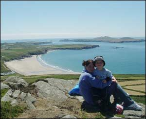 Michelle and son Aled, from Betws, Ammanford enjoying the view from above Whitesands Bay, Pembrokeshire