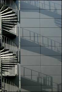 Light and shadows on the fire escape of the Technium Building, University of Wales, Swansea (Jim Young)