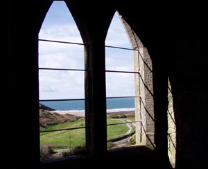 View from a window of Manorbier Castle looking towards the shore (Maureen Fleming)