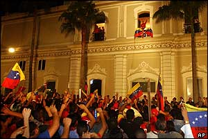 Chavez supporters outside the presidential palace