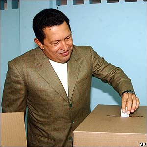 Hugo Chavez votes