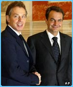 Tony Blair and Spanish Prime MInister Jose Luis Rodriguez Zapatero