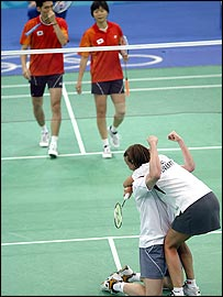 Rasmussen and Olsen celebrate after beating South Korea
