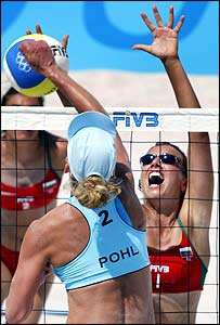 Pohl goes up at the net against Tzvetelina Yanchulova