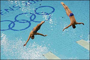 Sirandis and Bimis compete in the 3m synchronised diving