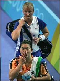 Tracy Hallam (top) looks dejected after losing her match