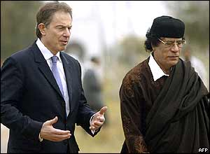 Tony Blair (left) with Muammar Gaddafi