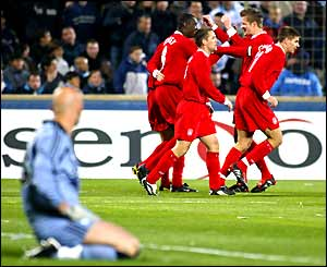 Fabien Barthez watches Liverpool celebrate their opening goal