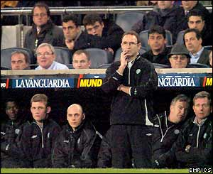 Celtic boss Martin O'Neill looks on anxiously from the bench