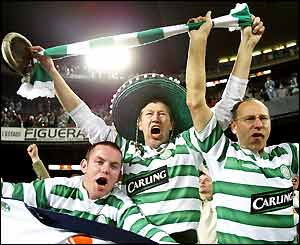 Celtic fans celebrate qualifying for the Uefa Cup semi-finals
