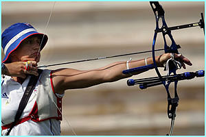 Shropshire school teacher Alison Williamson, wins bronze in the final of the women's archery.