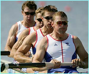 Matthew Pinsent, Ed Coode, James Cracknell and Steve Williams row their way effortlessly into the coxless fours final.