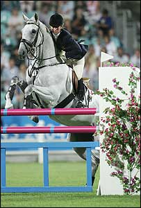 Hoy competes in the individual three day eventing jumping final