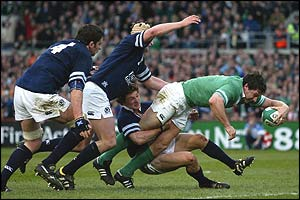 David Wallace of Ireland scores the third try for Ireland