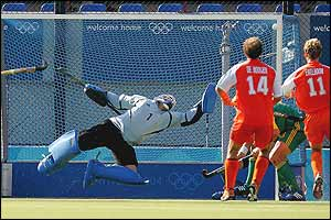 David Staniforth for South Africa saves a goal attempt