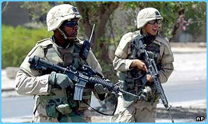 US troops patrol in Sadr City, Baghdad