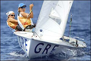 Greece's Sofia Bekatorou and Aimilia Tsoulfa win the women's 470 sailing