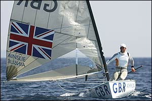 Ben Ainslie competes in the men's single handed dinghy finn race