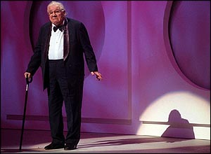 Sir Peter Ustinov on stage during the Princes Trust Comedy Gala in 1998
