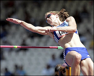 Kelly Sotherton competes in the high jump