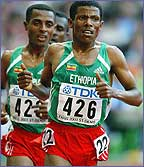 Haile Gebrselassie in action or Ethiopia
