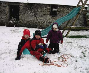 Leisia, Dylan and Lois enjoying the snow in their garden near Trawscoed (Rosemary Tudor)