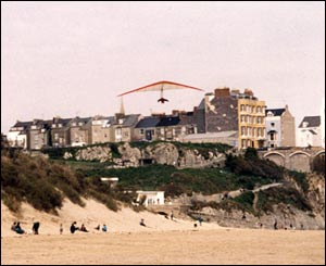 Graeme Johnson sent this shot of himself hangliding above the beach at Tenby