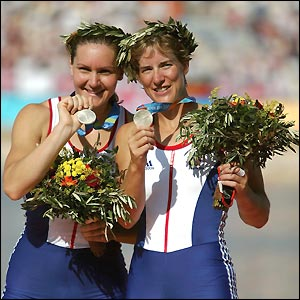 Katherine Grainger and Cath Bishop celebrate their silver medals