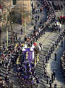 Aerial view of crowds and cortege
