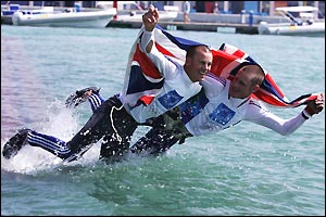 Nick Rogers and Joe Glanville celebrate winning silver in the men's 470 class